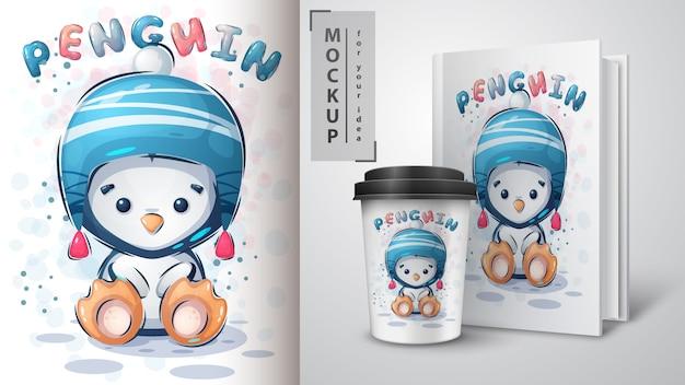 Ilustracja pingwina zimowego i merchandising.