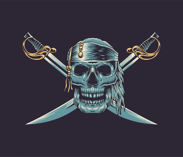 Ilustracja pirat czaszki