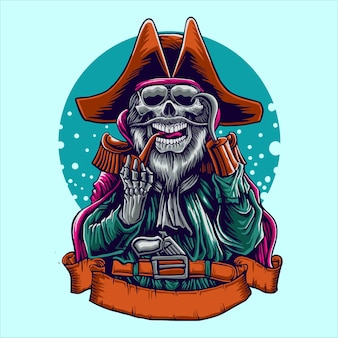 Ilustracja pirata czaszki