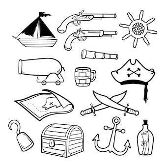 Ilustracja pirata doodle