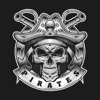 Ilustracja piratów czaszki