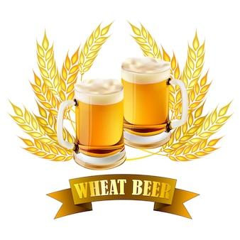 Ilustracja piwa pszenicznego dla produktów browarniczych.