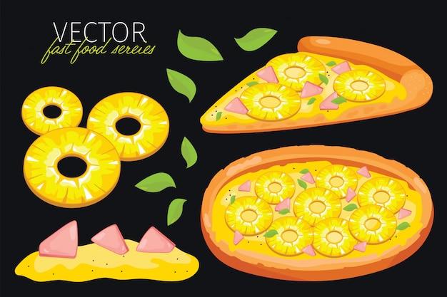 Ilustracja pizza ananasowa