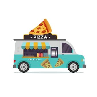 Ilustracja pizzerii pojazdu ciężarówki żywności