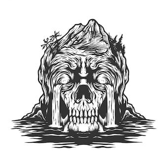 Ilustracja płacz czaszki wyspy