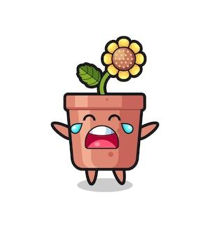 Ilustracja płacząca garnek słonecznika słodkie dziecko, ładny styl na koszulkę, naklejkę, element logo