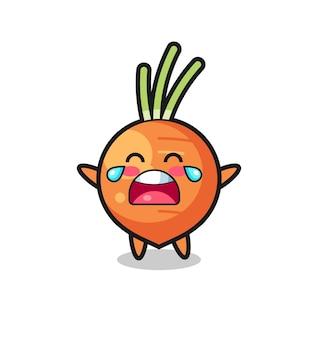 Ilustracja płacząca marchewka słodkie dziecko, ładny styl na koszulkę, naklejkę, element logo