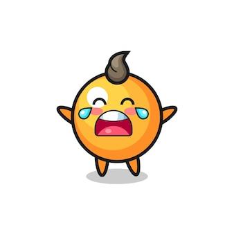 Ilustracja płacząca piłka do ping-ponga słodkie dziecko, ładny styl na koszulkę, naklejkę, element logo