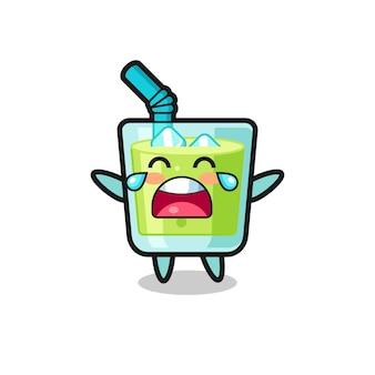 Ilustracja płaczącego soku z melona słodkie dziecko, ładny styl na koszulkę, naklejkę, element logo