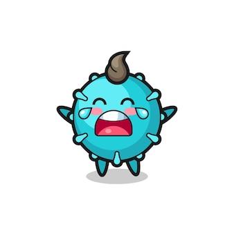Ilustracja płaczącego wirusa słodkie dziecko, ładny styl na koszulkę, naklejkę, element logo