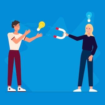 Ilustracja plagiatu z magnesem i żarówkami
