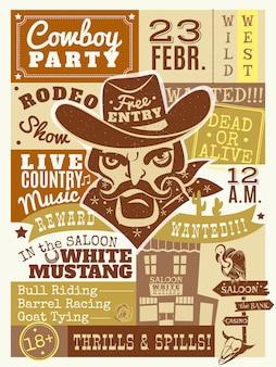 Ilustracja plakat kowboja