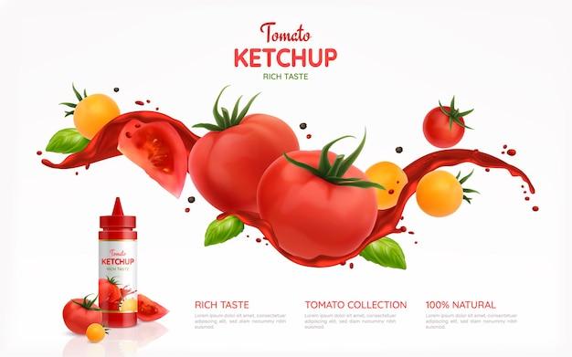 Ilustracja plakat realistyczny keczup pomidory