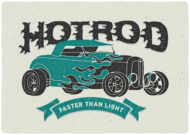 Ilustracja plakat rocznika samochodu