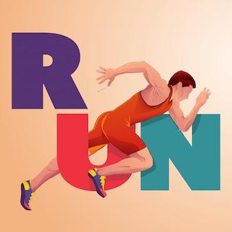 Ilustracja plakat sportowca sprintu
