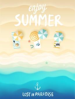 Ilustracja plakat tropikalnej plaży