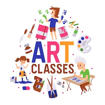 Ilustracja plakat zajęć plastycznych. dziewczynki i chłopcy rysują, malują, szkicują na sprzęcie. edukacja, koncepcja przyjemności.