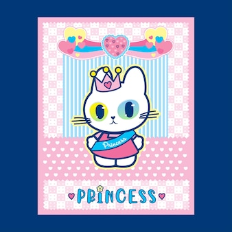 Ilustracja plakatu księżniczki kota z uroczym różowym kolorem tła