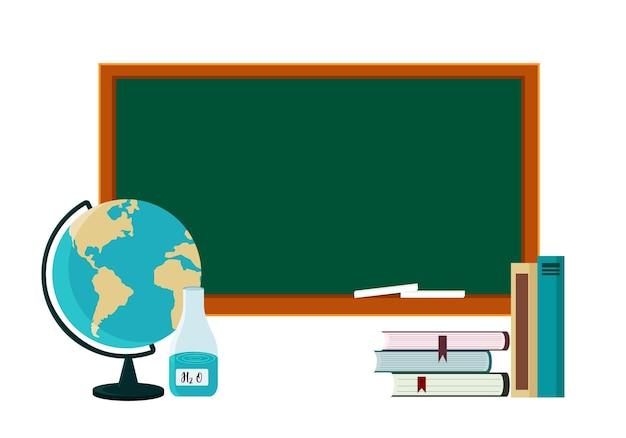 Ilustracja plakatu na temat powrotu do szkoły. globus, podręczniki, ołówek na tle szkoły