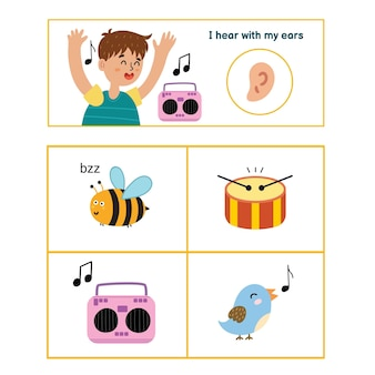 Ilustracja plakatu pięciu zmysłów