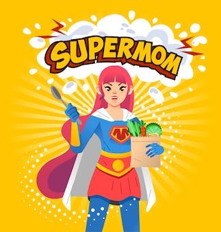 Ilustracja plakatu supermom, młoda mama trzymająca łyżkę i artykuły spożywcze z literą supermom powyżej i żółtym tle. używany do plakatów, okładek książek i innych