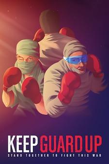 Ilustracja plakatu uświadamiającego, aby zachęcić pracowników służby zdrowia, którzy ryzykują życiem na pierwszej linii frontu podczas kryzysu pandemicznego