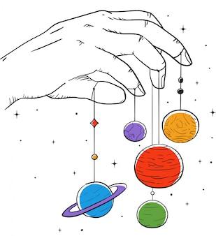 Ilustracja planety dłoni