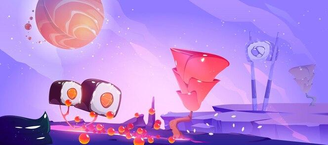 Ilustracja planety sushi z fantastycznym krajobrazem z drzewami z rolką i imbirem i planetą łososia na niebie