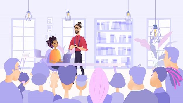 Ilustracja planowane spotkanie pracowników firmy