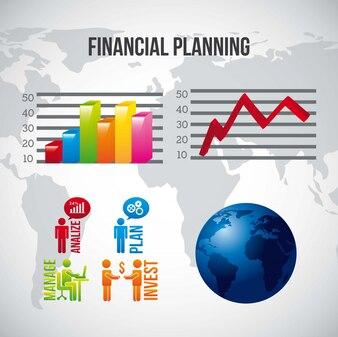 Ilustracja planowania finansowego na szarym tle wektor