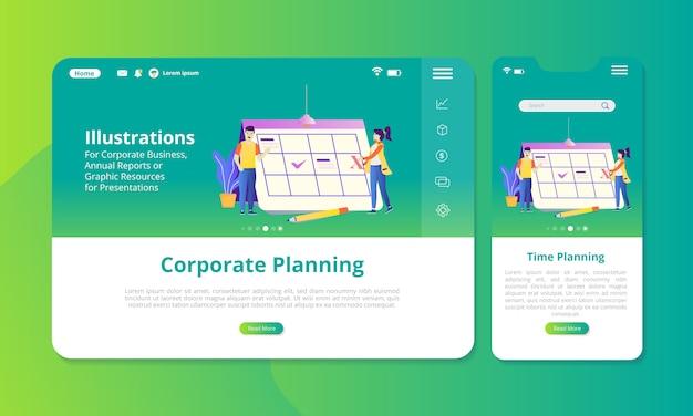 Ilustracja planowania korporacyjnego na ekranie do wyświetlania w internecie lub na urządzeniach mobilnych.