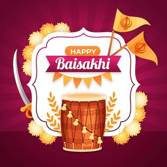 Ilustracja płaska baisakhi