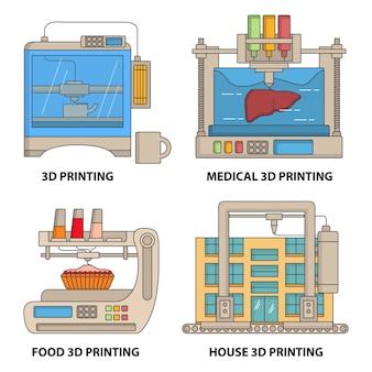 Ilustracja płaska cienka linia drukarki