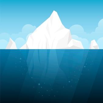 Ilustracja płaska konstrukcja góry lodowej