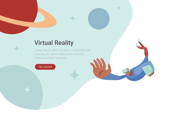 Ilustracja płaska konstrukcja technologii vr człowiek w wirtualnych okularach lecący w kosmosie z planetami