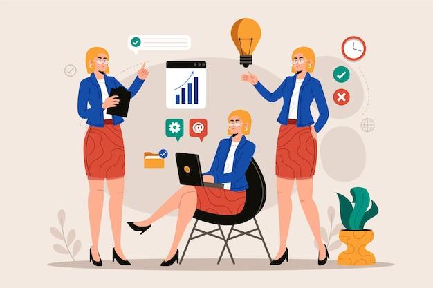 Ilustracja płaska konstrukcja wielozadaniowej biznes kobieta