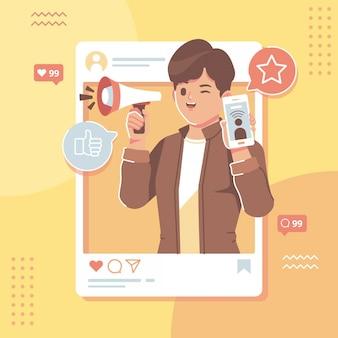 Ilustracja płaska konstrukcja wpływ mediów społecznościowych