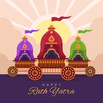 Ilustracja płaska rath yatra