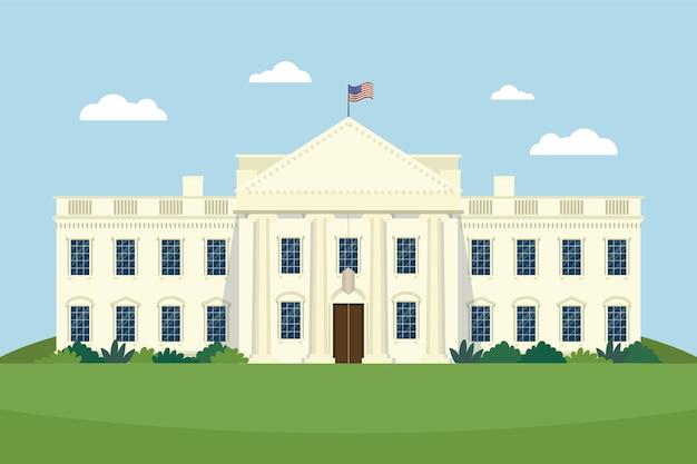 Ilustracja płaski biały dom