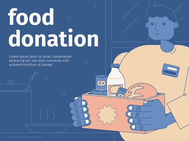 Ilustracja płaski darowizny żywności z mężczyzną trzymającym pudełko z produktami