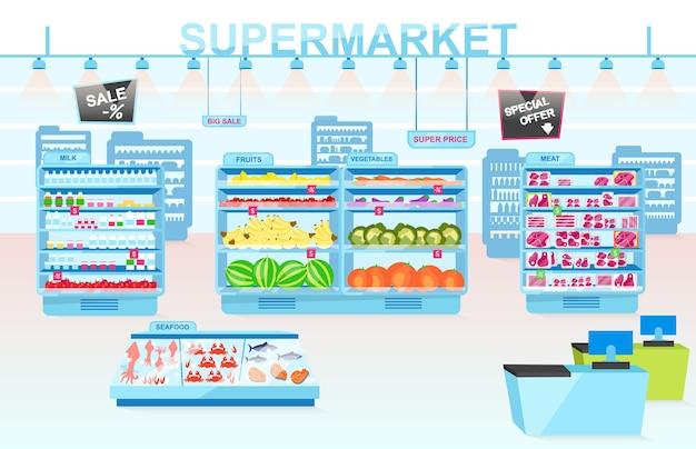 Ilustracja płaski działów supermarketu. półki z różnymi produktami. warzywa, mięso, owoce morza, owoce i mleko. wnętrze sklepu spożywczego. konsumpcjonizm i towary