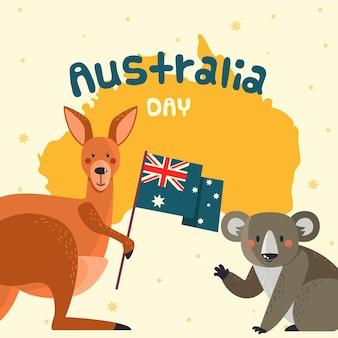 Ilustracja Płaski Dzień Australii Darmowych Wektorów