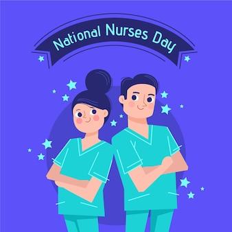 Ilustracja płaski dzień krajowych pielęgniarek
