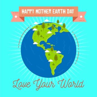 Ilustracja płaski dzień matki ziemi