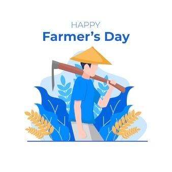 Ilustracja płaski dzień rolników krajowych