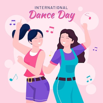 Ilustracja płaski dzień tańca międzynarodowego