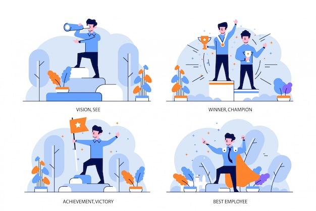 Ilustracja płaski i zarys styl projektowania, wizja, zwycięzca, mistrz, osiągnięcie, zwycięstwo, najlepszy pracownik
