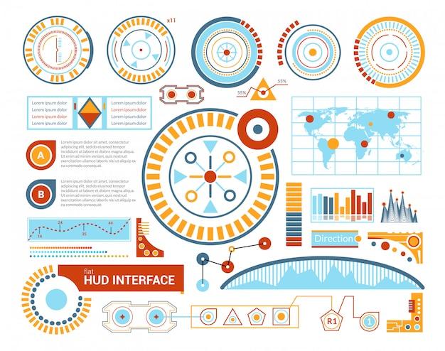 Ilustracja płaski interfejs hud