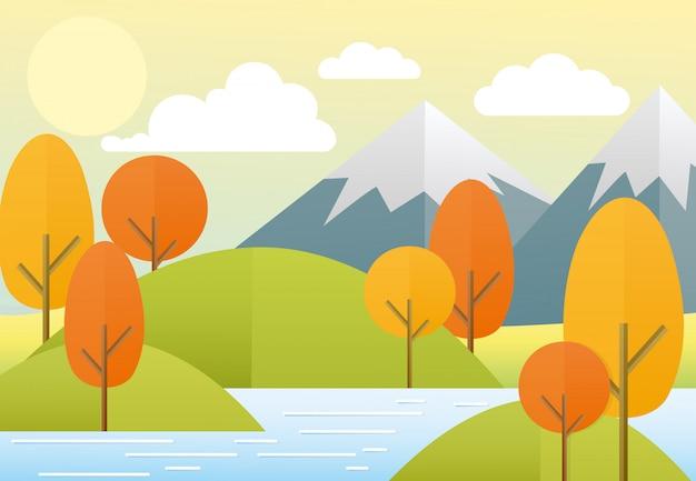 Ilustracja płaski jesień natura krajobraz. kolorowa przyroda, góry, jezioro, słońce, drzewa, chmury. jesienny widok w modnym stylu płaski kreskówka.