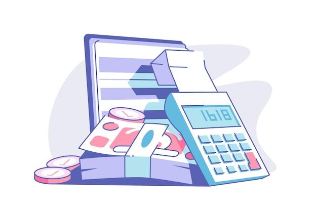 Ilustracja płaski kalkulator i banknotów